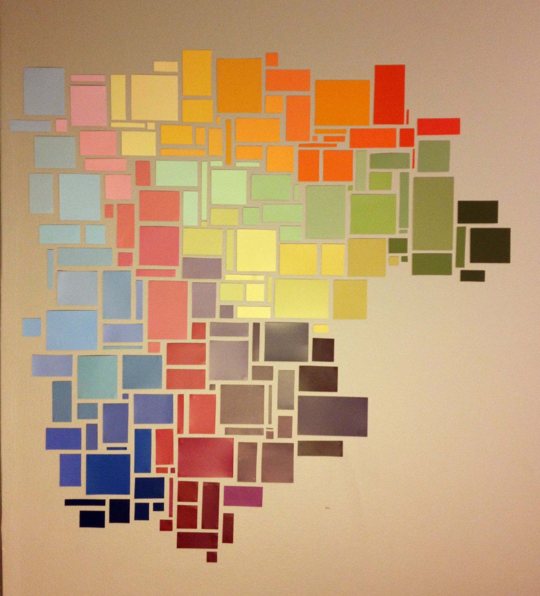 paint chips in shapes.. maybe the island.. cut a stencil and lay ...