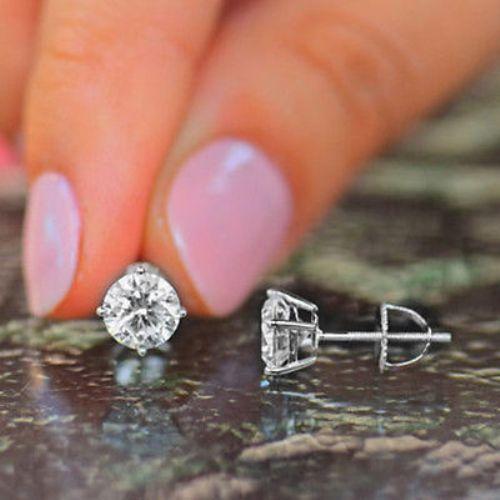 14k White Gold Over D Vvs1 Round Cut Diamond Earrings 1 50 Carat Stud For Women Jeweller 43