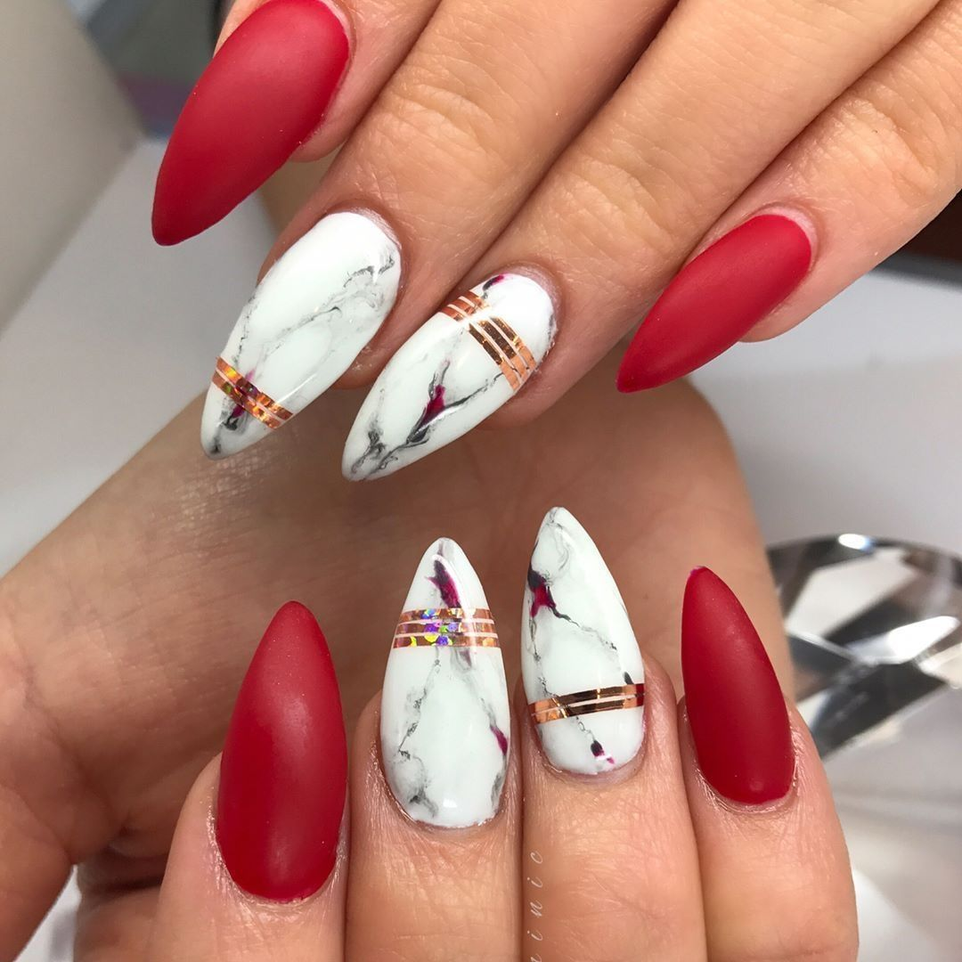 winter chic matte red nails