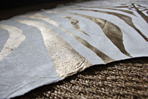 DIY metallic faux zebra rug