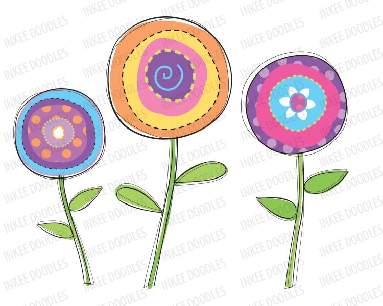 Doodle Spring Flower Modern Floral Blooms Purple Orange Blue ...