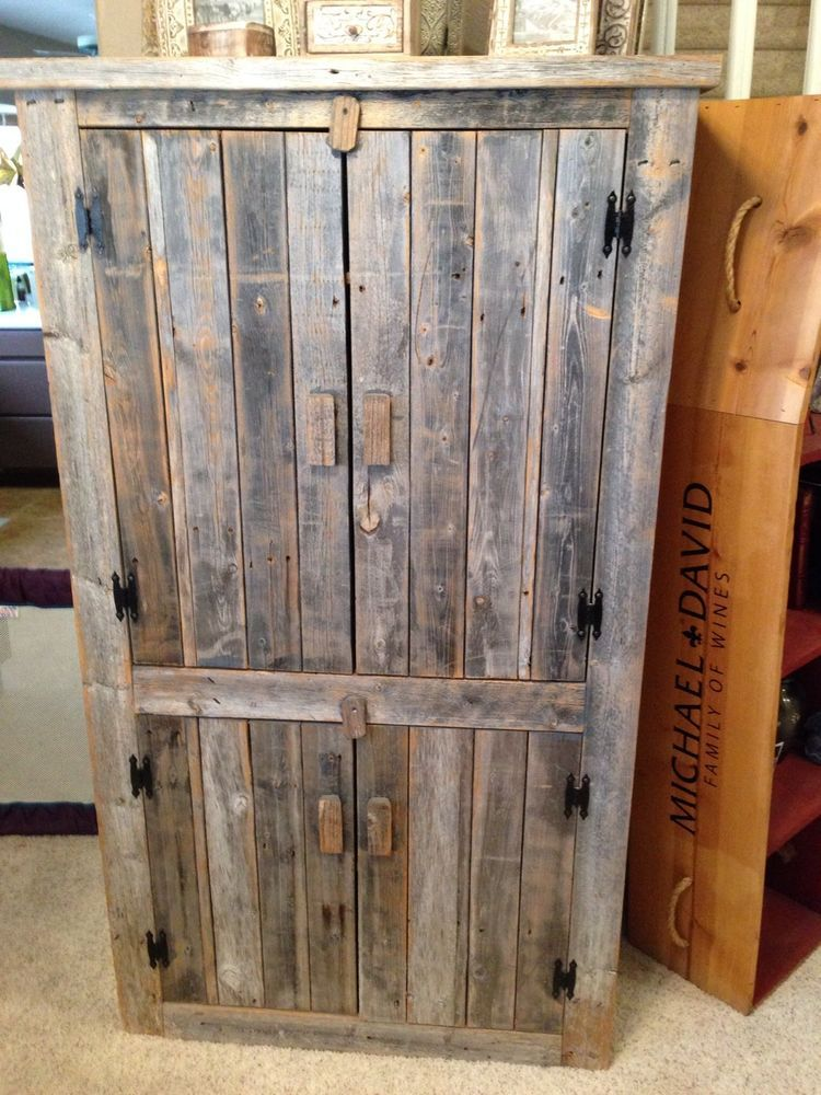 Reclaimed Barn Wood Armoire (vintage) - Distressed Reclaimed Pallet Wood Armoire Made By PalletsforToomers