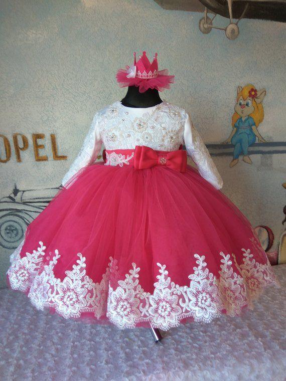 96c3d433d2da2 Crimson Flower girl Dress Wedding Party Dress for girl Luxury ...