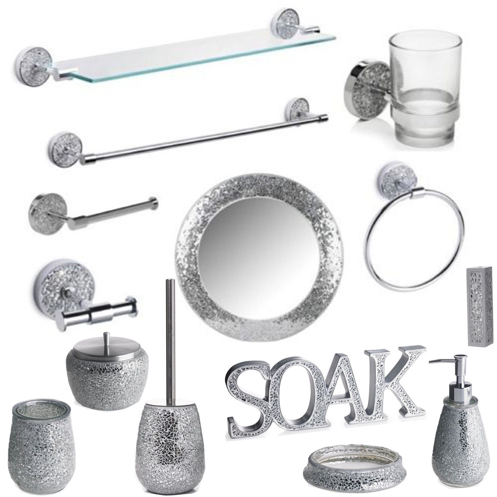 Silver Mosaic Bathroom Accessories Set  Sparkle Mirror Accessory Bath Sets mosaic bathroom accessories silver sparkle mirror
