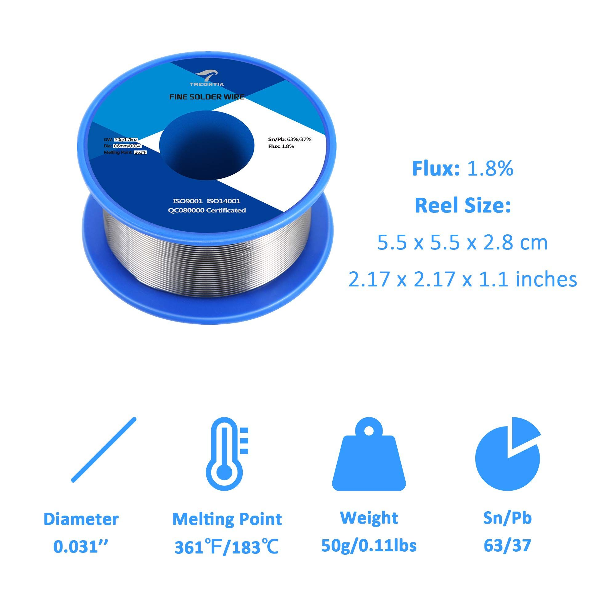 Treonyia 63 37 Tin Lead Rosin Core Solder Wire 0 6mm 50g Electrical Soldering Wire 0 0236 Inches 0 11lbs Ad Core Soldering Solder Wire Welding Cable