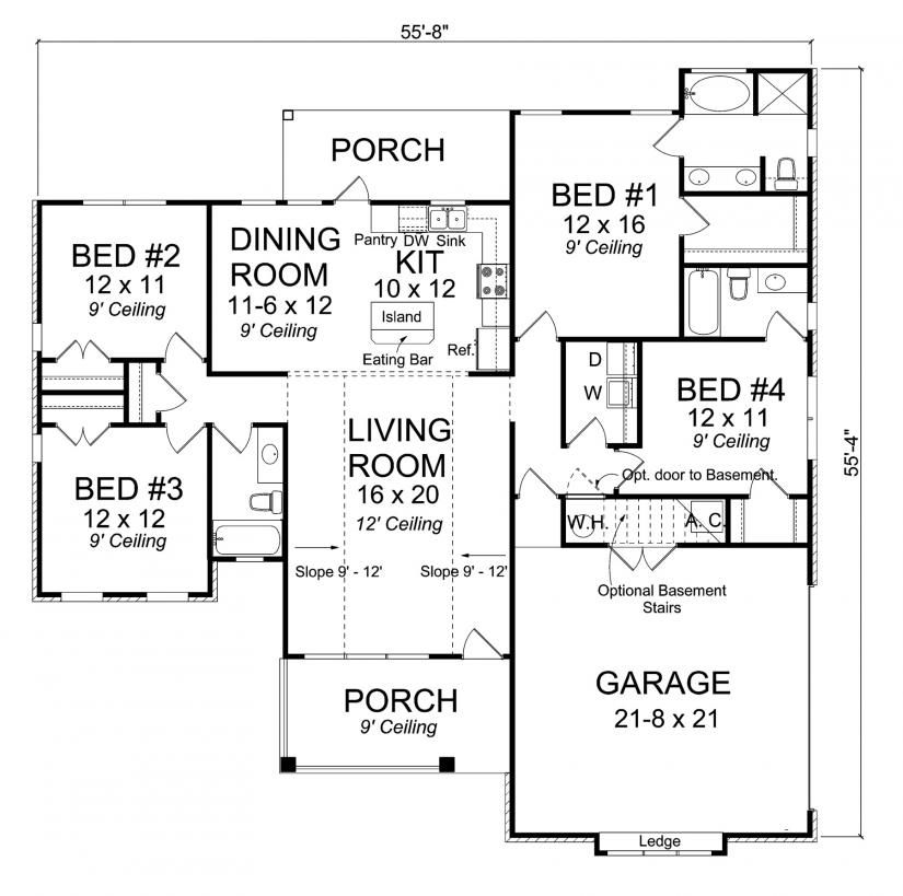656148 - 4 Bedroom 3 Bath Traditional with split floor plan and side