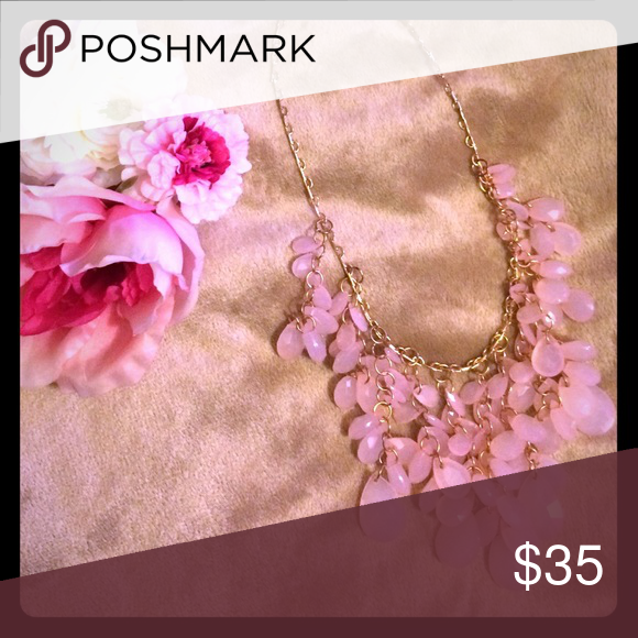Teardrop Bobble Statement Necklace 🌸NWT Teardrop bobble multi strand beaded statement necklace in a lovely shade of pink displayed upon a shiny gold chain. This piece dances in the light and glistens in an ever so radiant way. Sure to accent any outfit beautifully! 🌸 Nordstrom Jewelry Necklaces