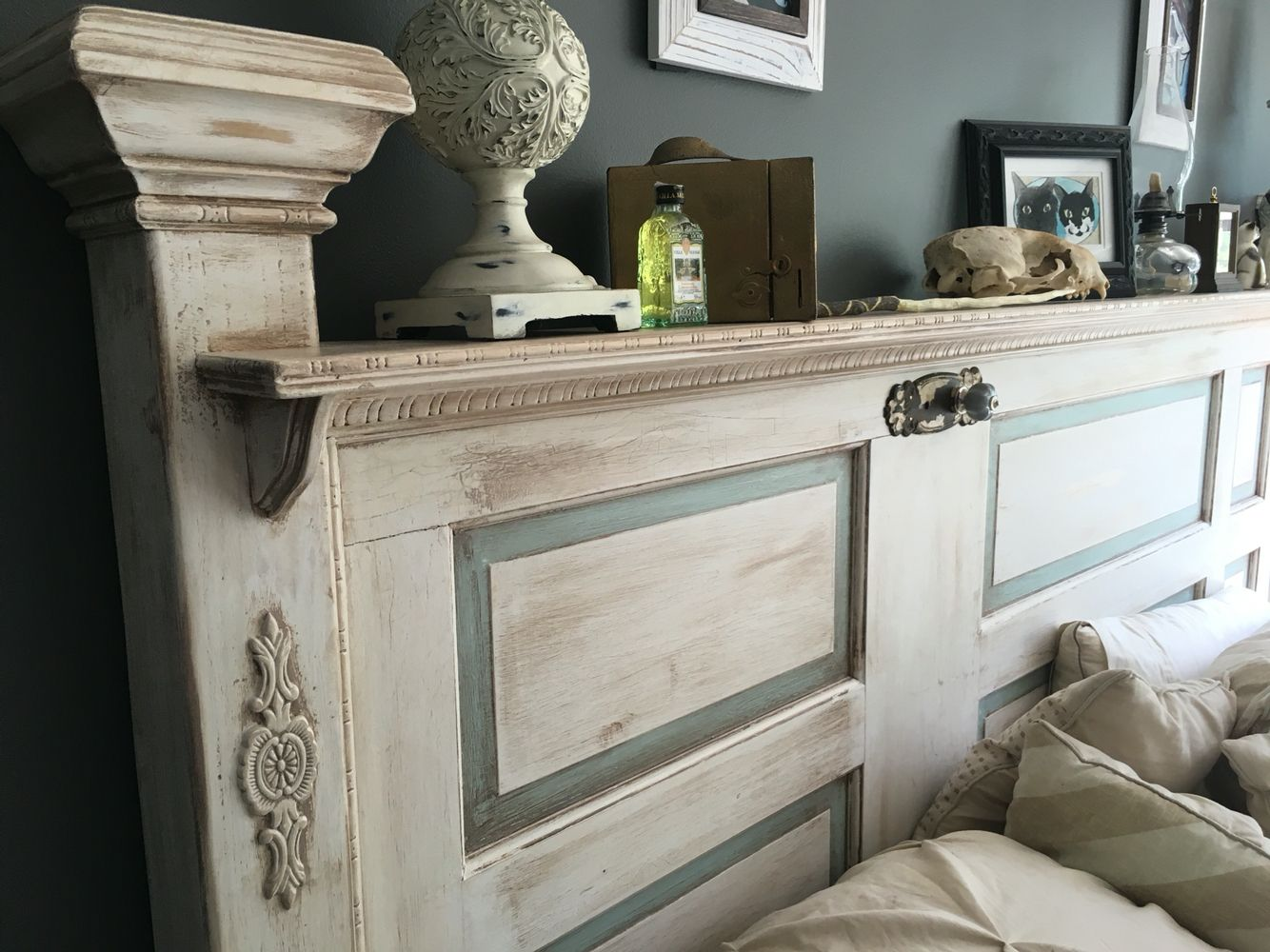 Antique Door Shabby Chic French Provincial Headboard Made By My Husband Finished With Antiqu Headboard From Old Door Shabby Chic Room Antique Door Headboards
