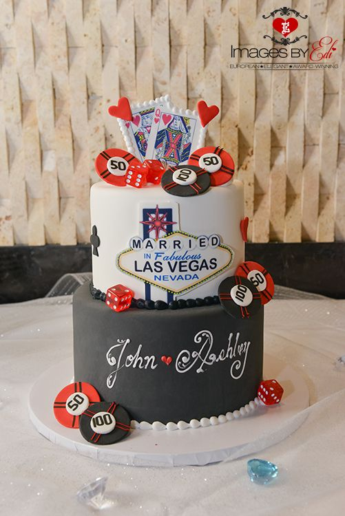 Las Vegas themed wedding cake captured by Images by EDI