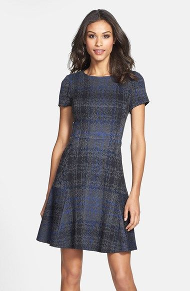7726c89854b Free shipping and returns on Betsey Johnson Plaid Fit   Flare Sweater Dress  (Online Only) at Nordstrom.com. Menswear-inspired plaid stamped for a more  ...