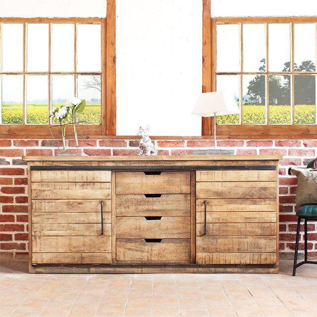buffet industriel 2 portes coulissantes 4 tiroirs if626c made in meubles prix avis. Black Bedroom Furniture Sets. Home Design Ideas