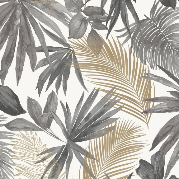 Wild Palms Charcoal Gold Wallpaper Gold Wallpaper Leaf Wallpaper Phone Wallpaper Boho