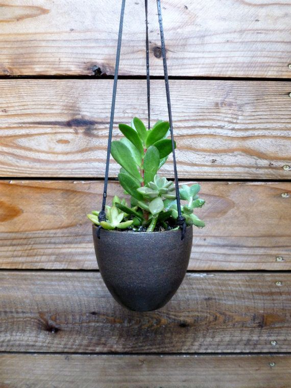 Modern Earthy Ceramic Hanging Planter With Leather Strap
