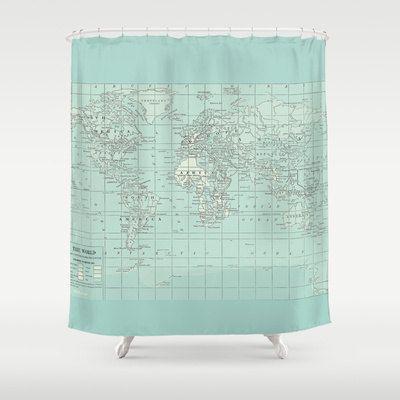 Soft Aqua Map Shower Curtain Historical Map Travel Decor