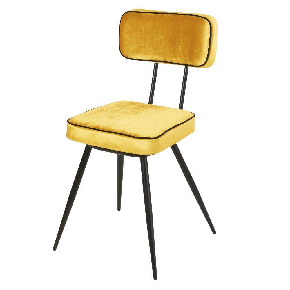 Stuhl Mit Gelbem Samtbezug Aus Schwarzem Metall Clapper Maisons Du Monde Metallstuhle Schwarzes Metall Stuhle