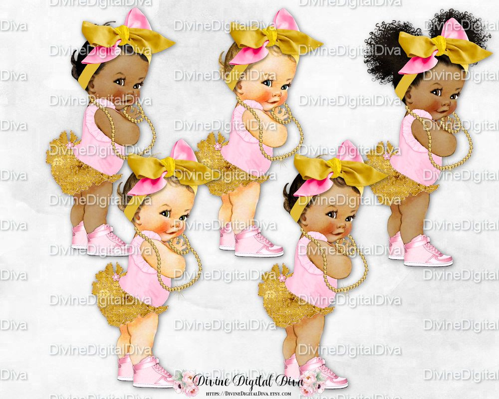 Clipart Instant Download Vintage Baby Girl 3 Skin Tones Ruffle Pants Big Head Bow Slippers Mint Ivory Rose Gold