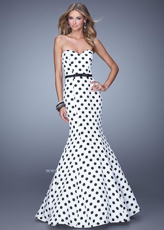 369becd141f17 La Femme 21180 Black & White Strapless Polka Dot Mermaid Style Prom Dress  at RissyRoos.com