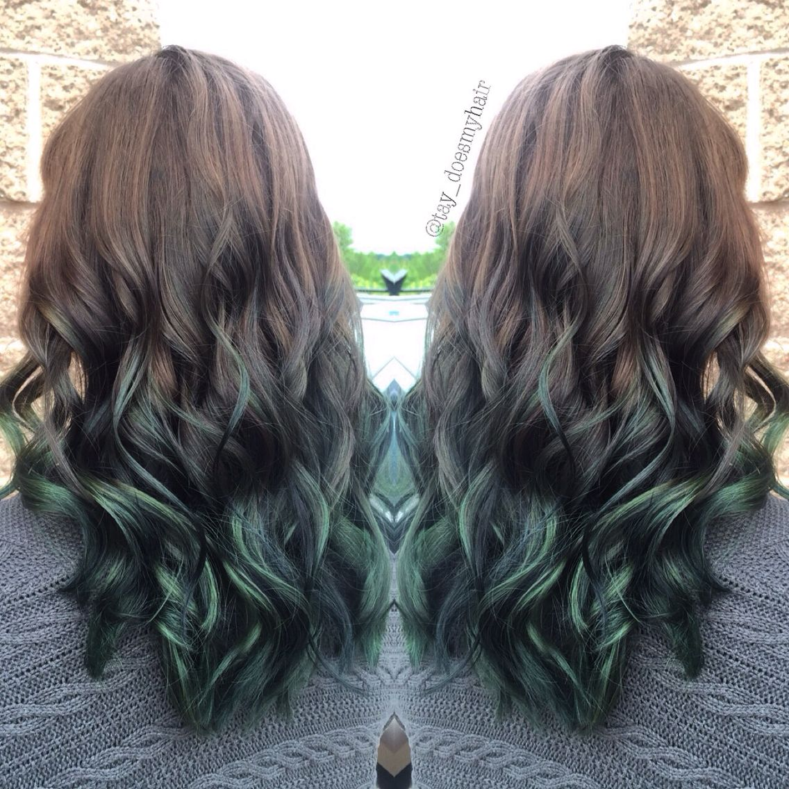 Look - Green brown ombre hair video
