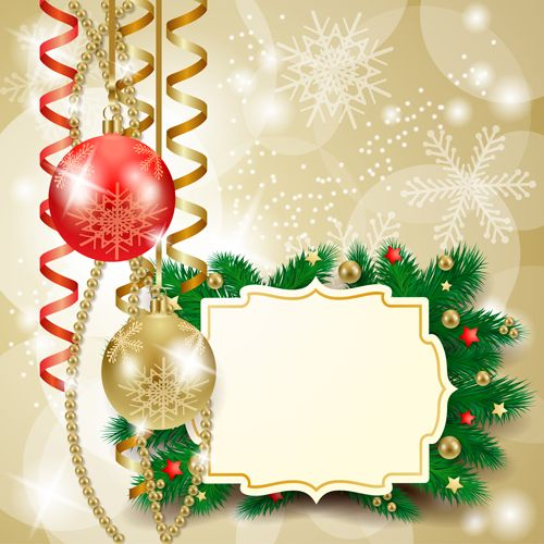 Cute Christmas Cards With Frame Vector Set 04