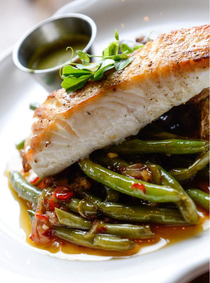 The Seasonal Wild Fish Of Day Featured Halibut Cast Iron Seared With Green Beans At Harbor Seafood Find This Pin And More On Slc Utah Restaurants