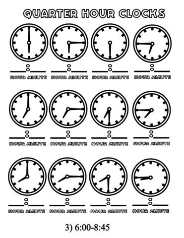 coloring page from telling time