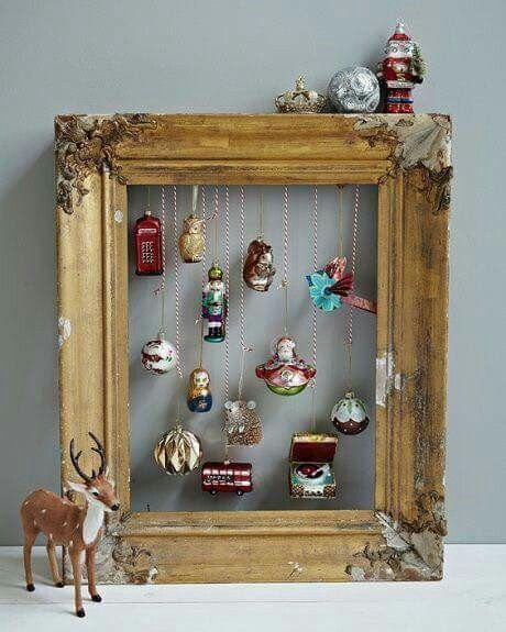 Mega süße DIY Deko Idee zu Weihnachten ❤ Wunderschöner Bilderrahmen mit ... #bastelideenweihnachten