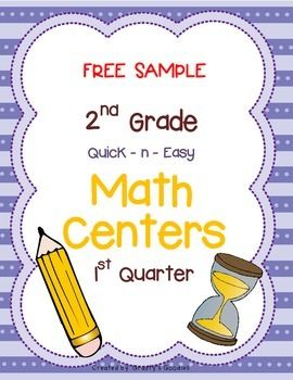 Free Sample Math Centers For 1st Quarter 2nd Grade Common Core