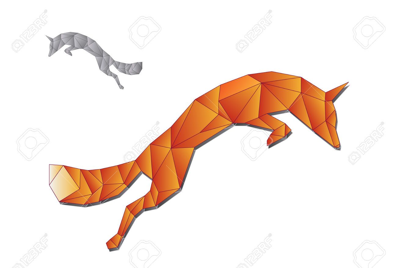 Jumping Fox Made Of Triangles Royalty Free Cliparts Vectors And Geometric Fox Jumping Fox Geometric Animal Tattoo