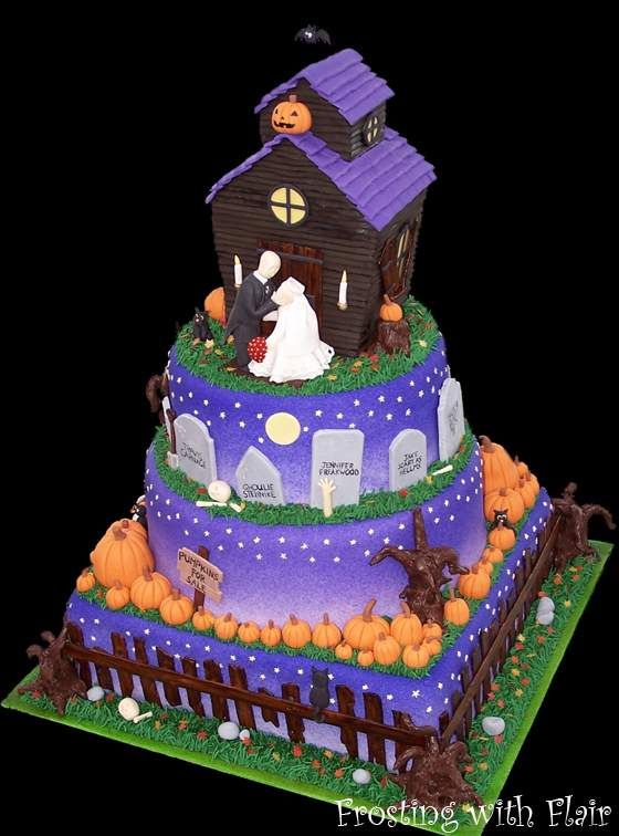 halloween cakes Purple Halloween Wedding Cakes House wedding cake - halloween cake decorating pictures