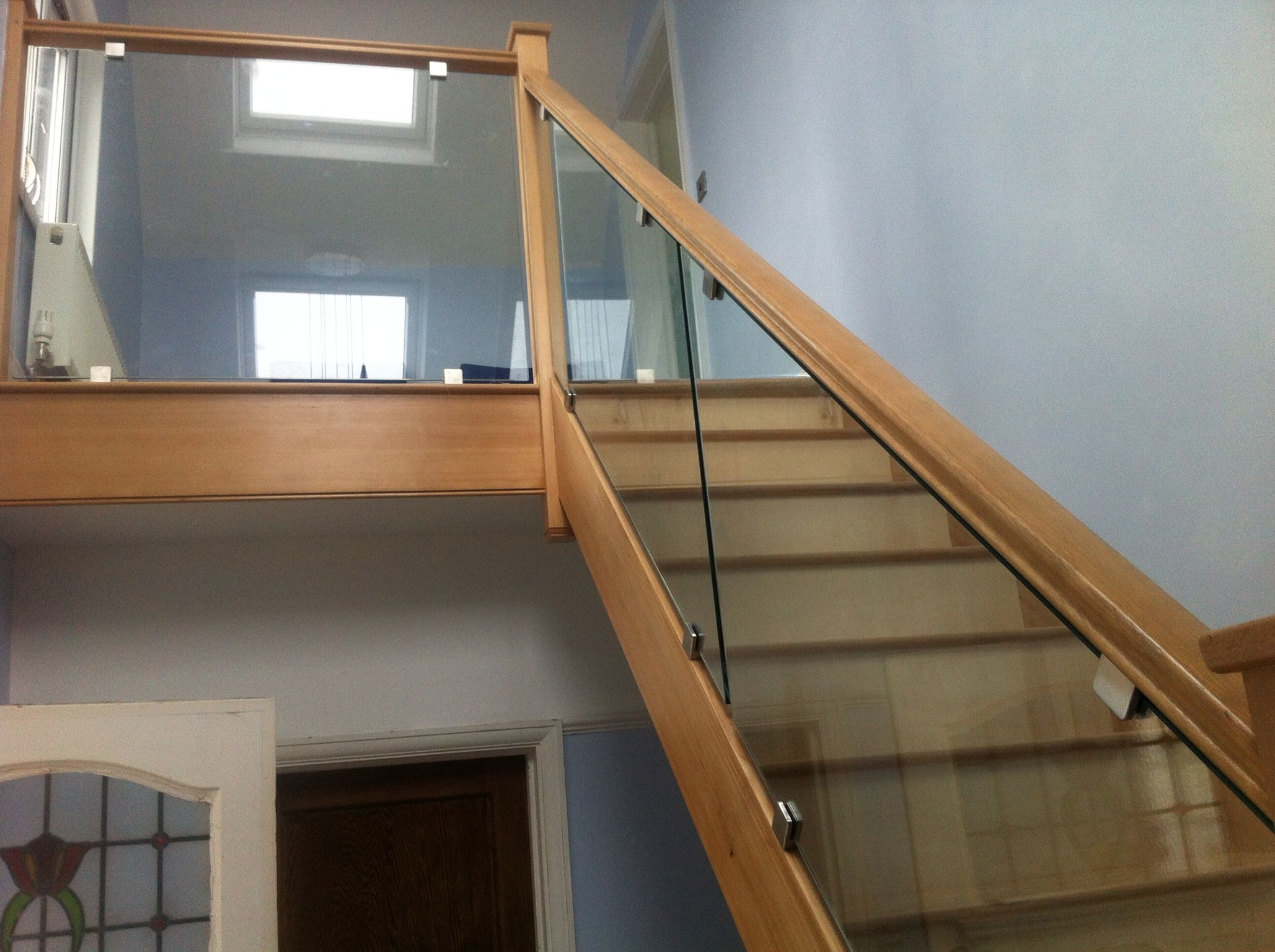 Toughened Safety Glass Balustrades Fixed Into Hardwood Surround With Stainless