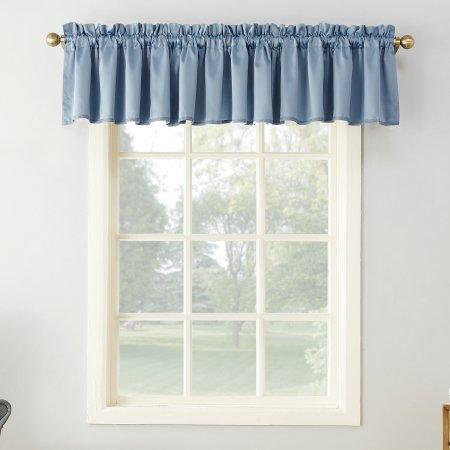 Sun Zero Kylee Rod Pocket Room Darkening Curtain Valance Blue