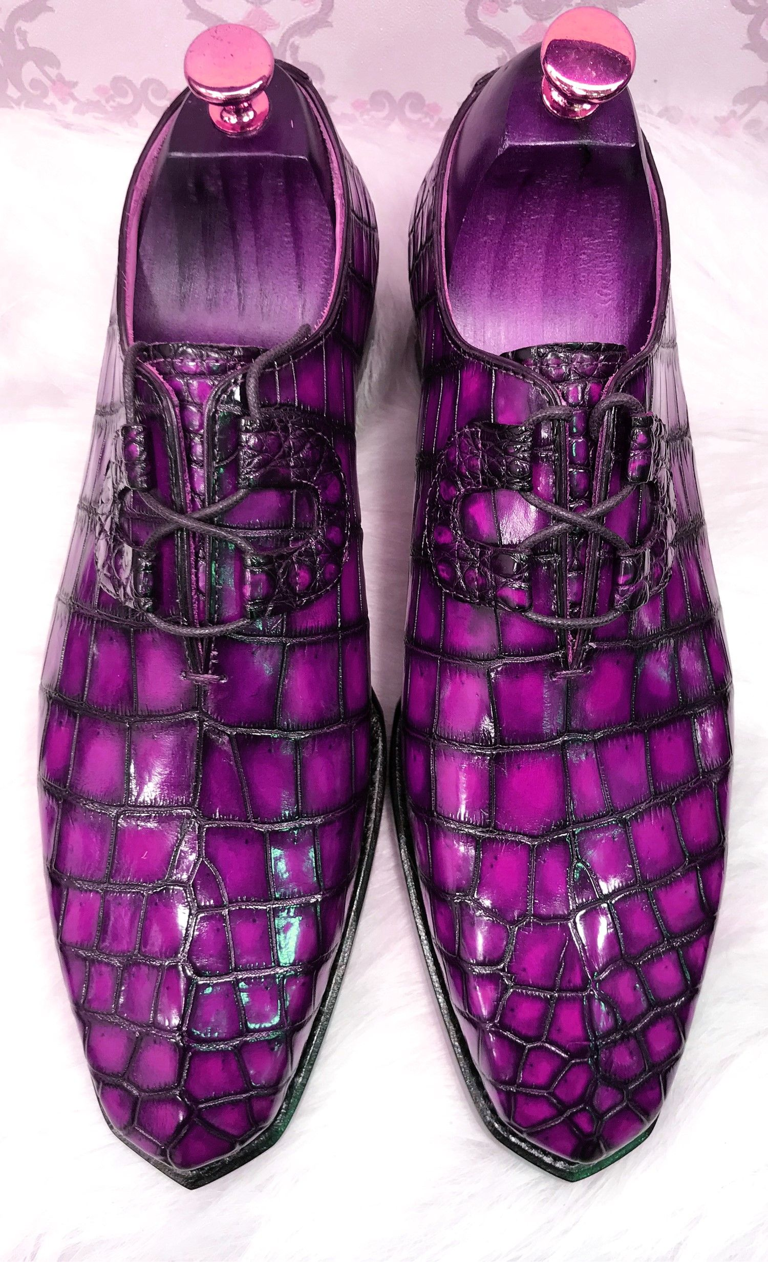 Handcrafted Men S Classic Alligator Leather Dress Shoes Purple Leather Dress Shoes Dress Shoes Men Alligator Dress Shoes