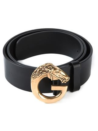 561f707cd Gucci Vintage Horse Head Buckle Belt - - Farfetch.com | Equestrian ...
