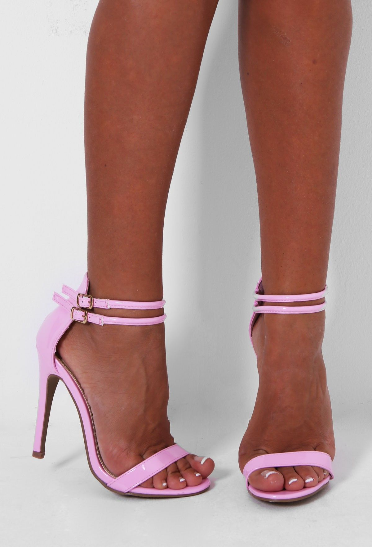 Rosalba Baby Pink Strappy Leather Look Stiletto Heel | Pink ...