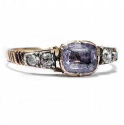 England um 1780: Antiker Gold RING mit Saphir & Diamanten / Georgian Sapphire