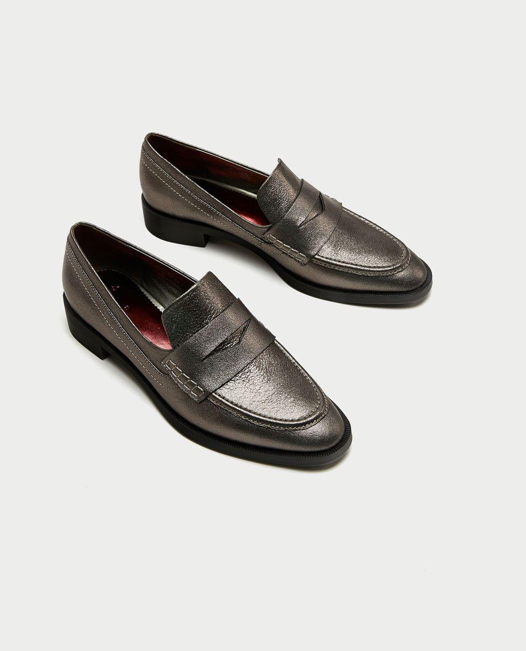 96cc91f99f7 METALLIC LEATHER MOCCASINS-Flat Shoes-SHOES-WOMAN