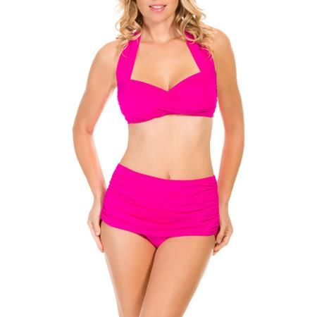 0d732f93dfe7 Suddenly Slim by Catalina Women's Slimming High-Waisted Bikini 2 Piece Set  - Walmart.com