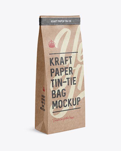 Kraft Paper Bag w/ a Kraft Paper Tin-Tie Mockup - Halfside View (Preview)