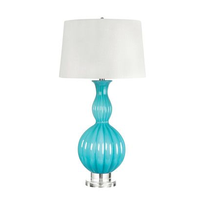 Lamp Works Glass Gourd Table Lamp In Powder Blue