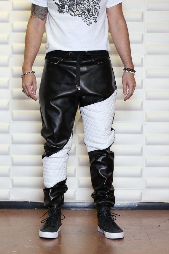 499bf5f57 De piel sintética negra con blanco acolchado tela - Mens gota  entrepierna Harem pantalones o el jogging y Mens-camisa - pantalones de  cuero - pantalones a ...