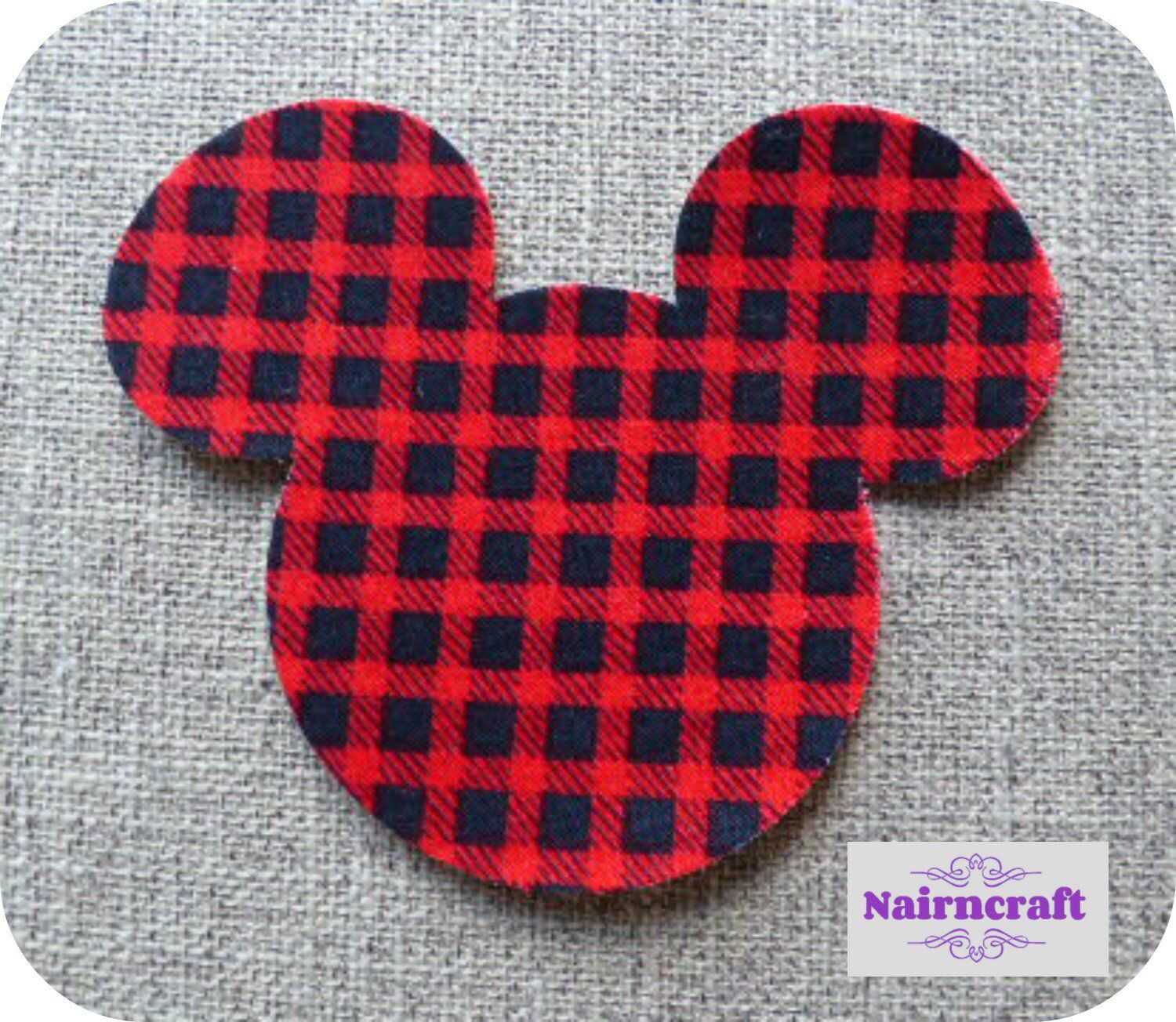 Cut Out Fabric Lumberjack Cotton Mouse Heads Iron On Sew On Applique