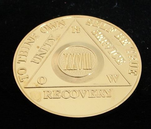 Alcoholics Anonymous 24K Gold Plated 28 Year How Old Style Medallion Chip Coin | eBay
