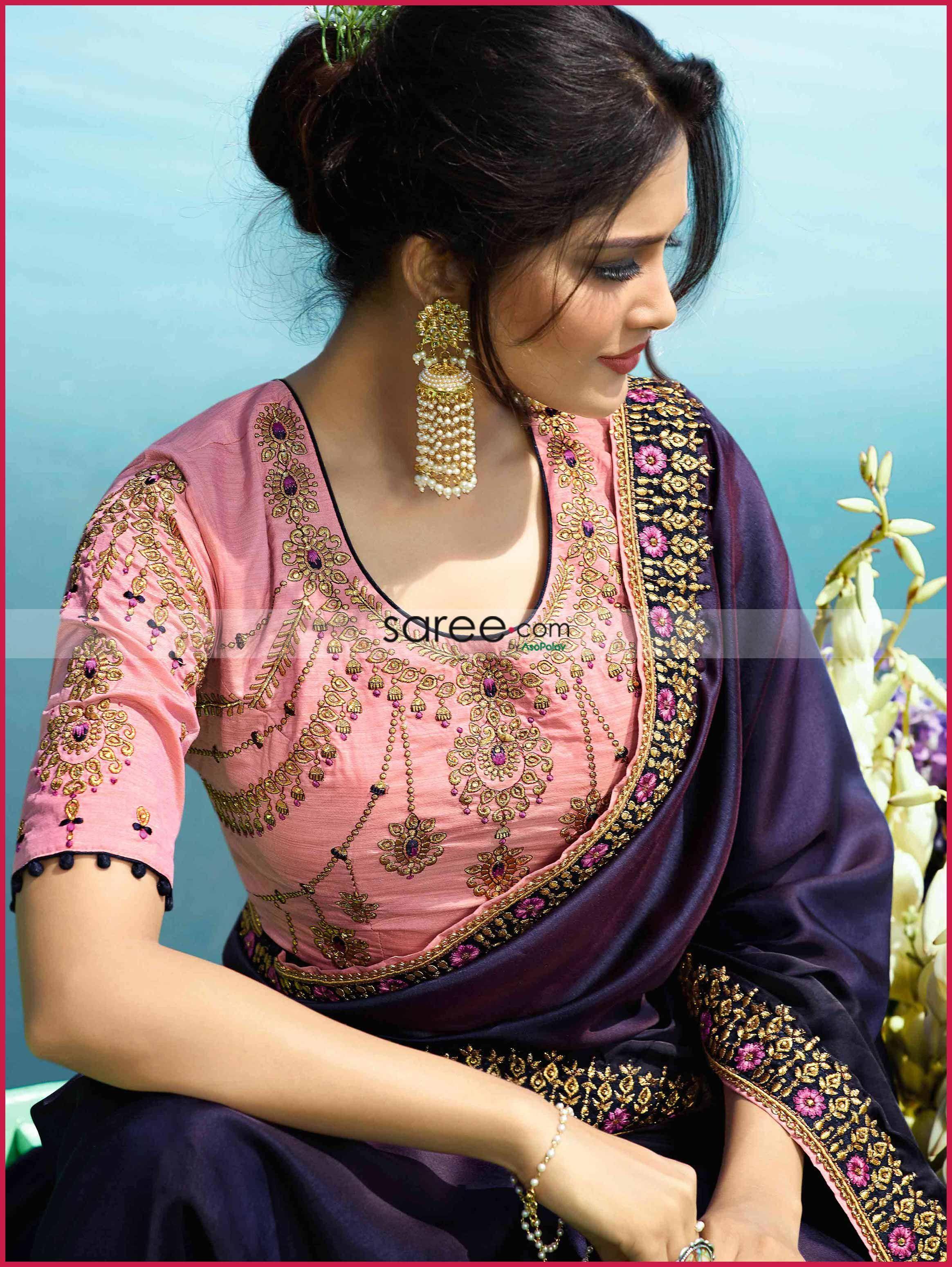 aa3be6b044 Violet Silk Fancy Saree with Lace | Saree | Fancy sarees, Lace saree ...