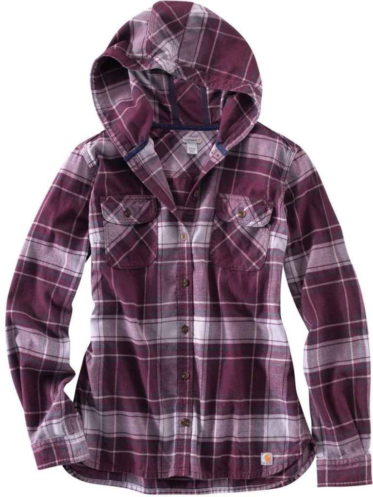 carhartt women 39 s belton flannel hooded shirt at amazon
