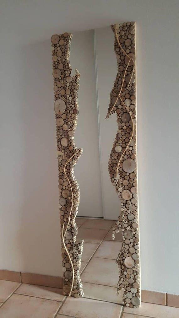 Miroir en bois flotté,art mural bois flotté,décoration murale,décor plage bois flotté,suspension art,hall d entrée,bois flotté tranche,art #decorationentree