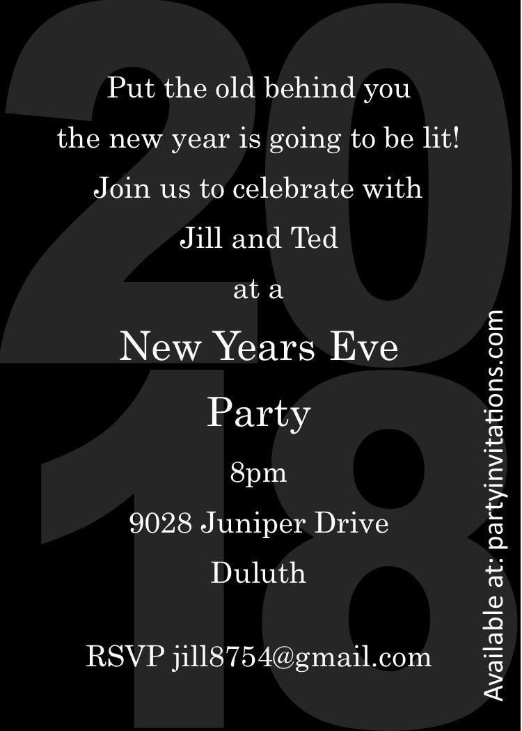 Black On Black 2018 New Years Eve Party Invitations New Years Eve