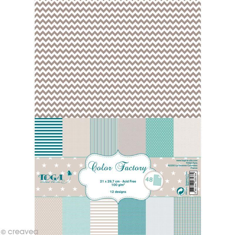 Papier Scrapbooking Toga Color Factory Bleu Beige Taupe 48 Feuilles A4 Bloc Papier A4 Creavea Papier Scrapbooking Scrapbooking Papier