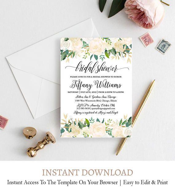 Bridal Shower Invitation Watercolor Floral Wedding Card White - bridal shower invitation templates download