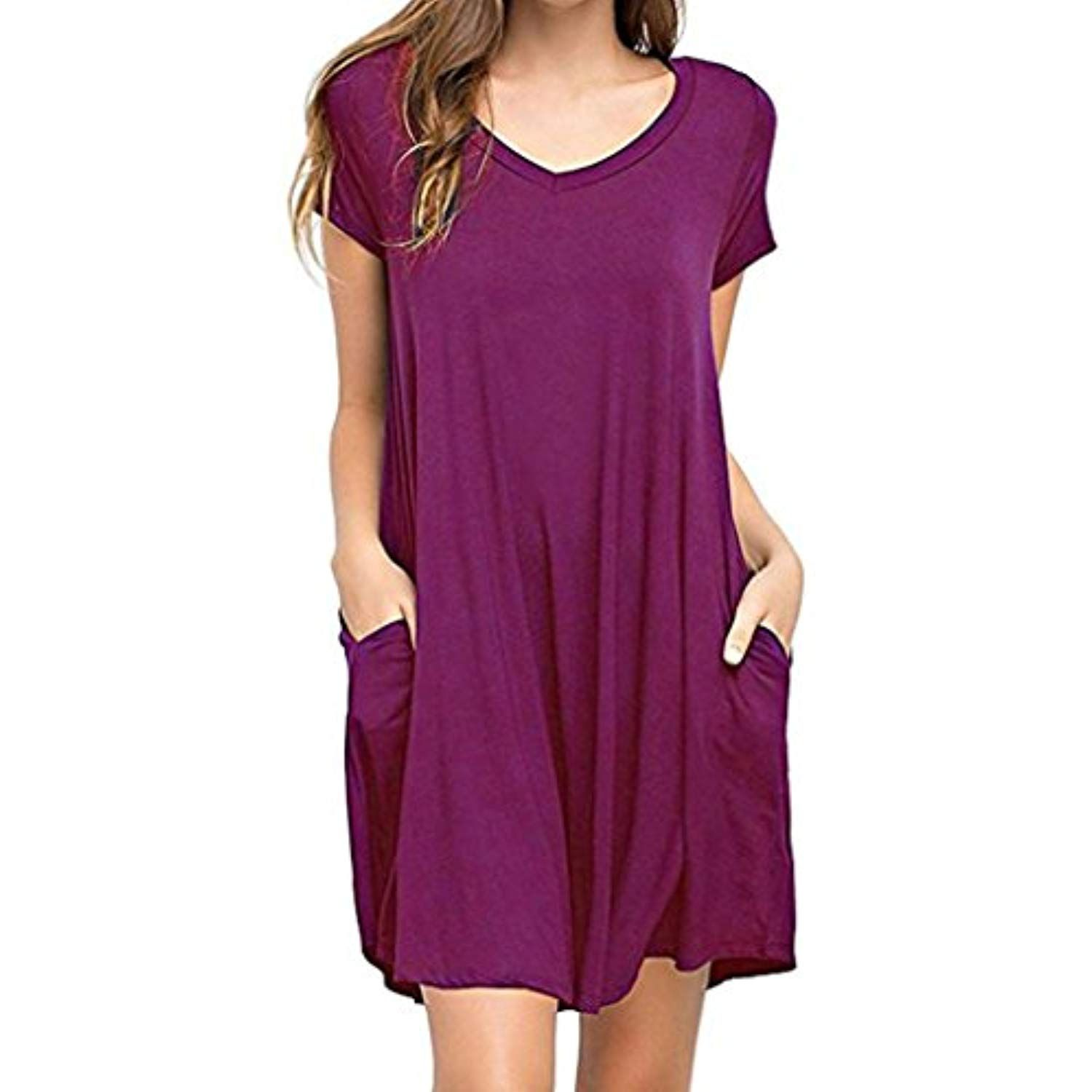 7d44d7db6a8a Clearance Sale! Wintialy Women Summer Casual Solid Plain Simple Pocket T  Shirt Loose Dress     You can find out more details at the link of the  image.