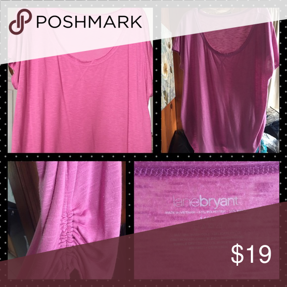 Pink ruched top-Lane Bryant Pink ruched top, light weight and worn once. Very casual and perfect for the spring and summer days! Lane Bryant size 14/16 Lane Bryant Tops Blouses
